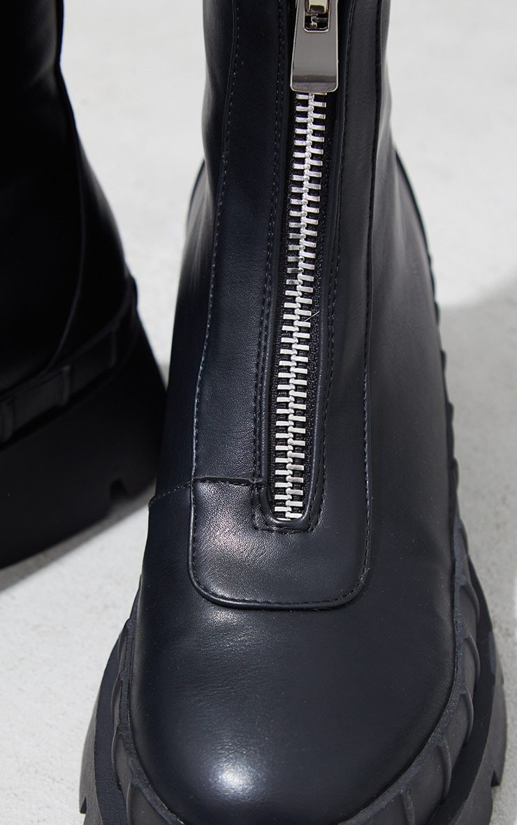 Black Zip Front Ankle Boots 4