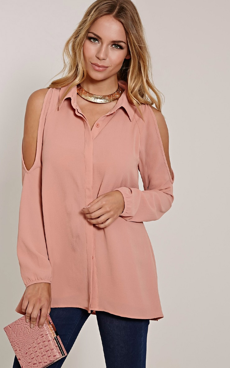 Lorisa Blush Cold Shoulder Floaty Blouse 1