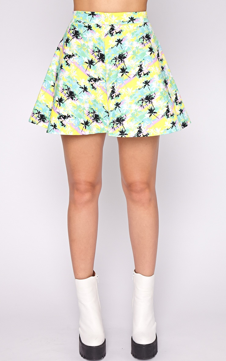 Aniya Palm Tree Print Skater Skirt 2