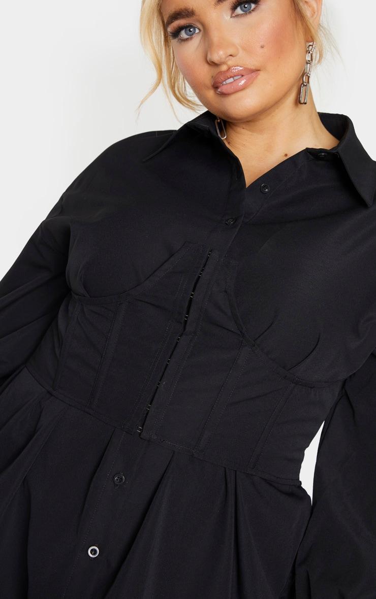 Plus Black Woven Corset Bust Detail Shirt Dress 4