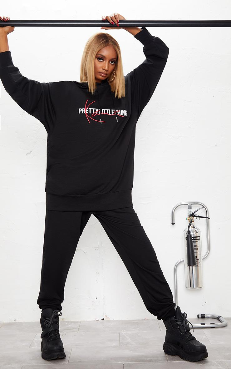KARL KANI Black PRETTYLITTLETHING Oversized Hoodie 5