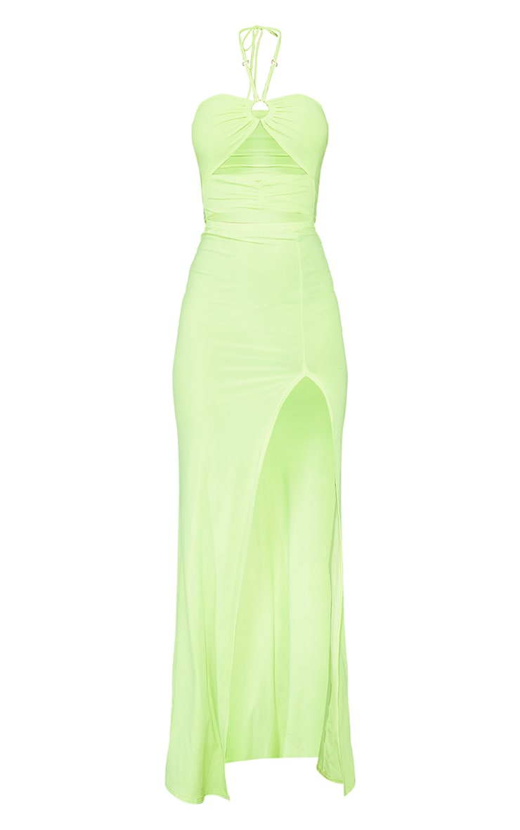 Lime Slinky Ring Detail Cut Out Halterneck Maxi Dress 5
