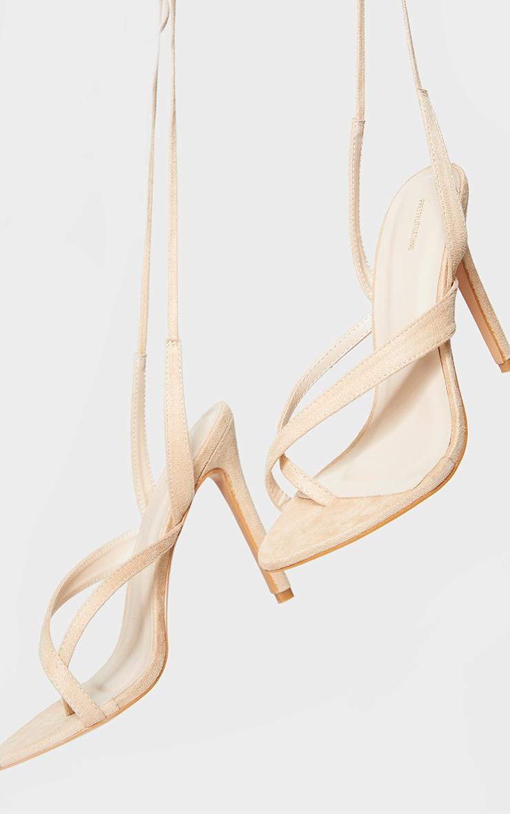 Nude Cross Toe Loop Ankle Strappy High Heels 3