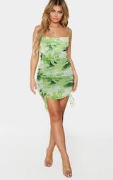 Lime Dragon Print Strappy Ruched Tie Hem Bodycon Dress 3