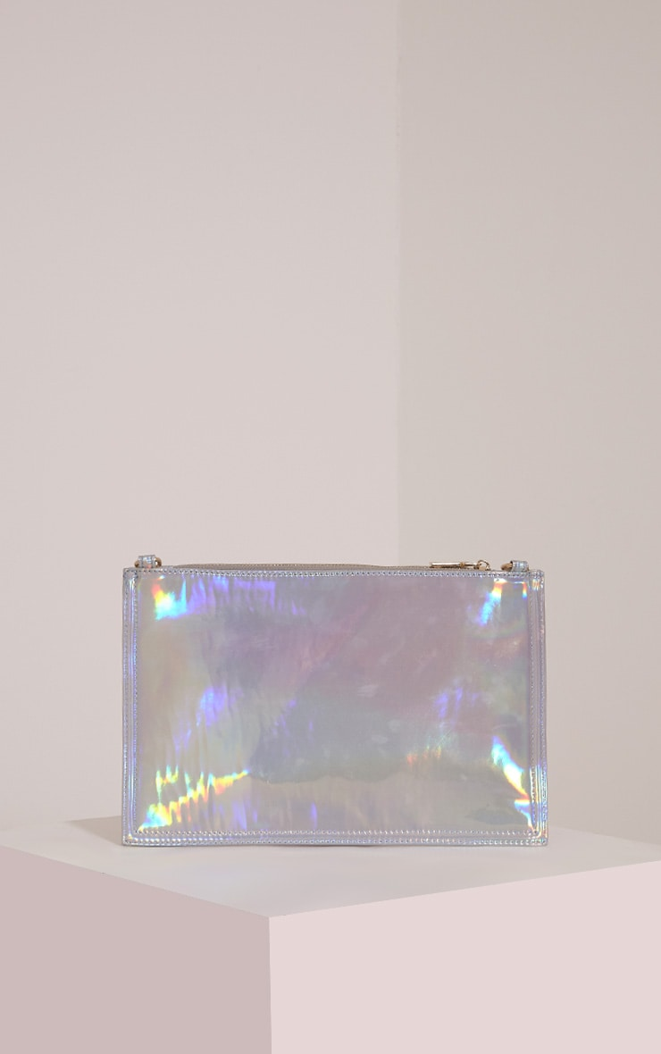 Carly Silver Holographic Patch Detail Clutch Bag 2