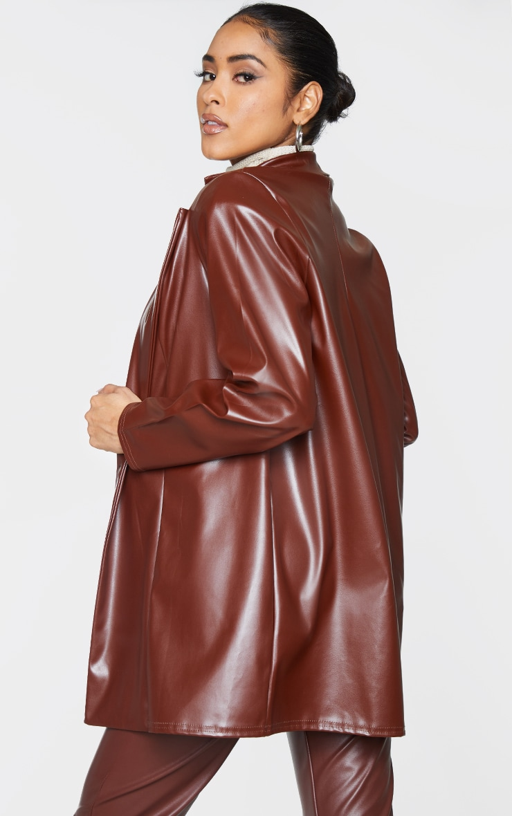 Chocolate Longline Lapel Detail Faux Leather Blazer 2