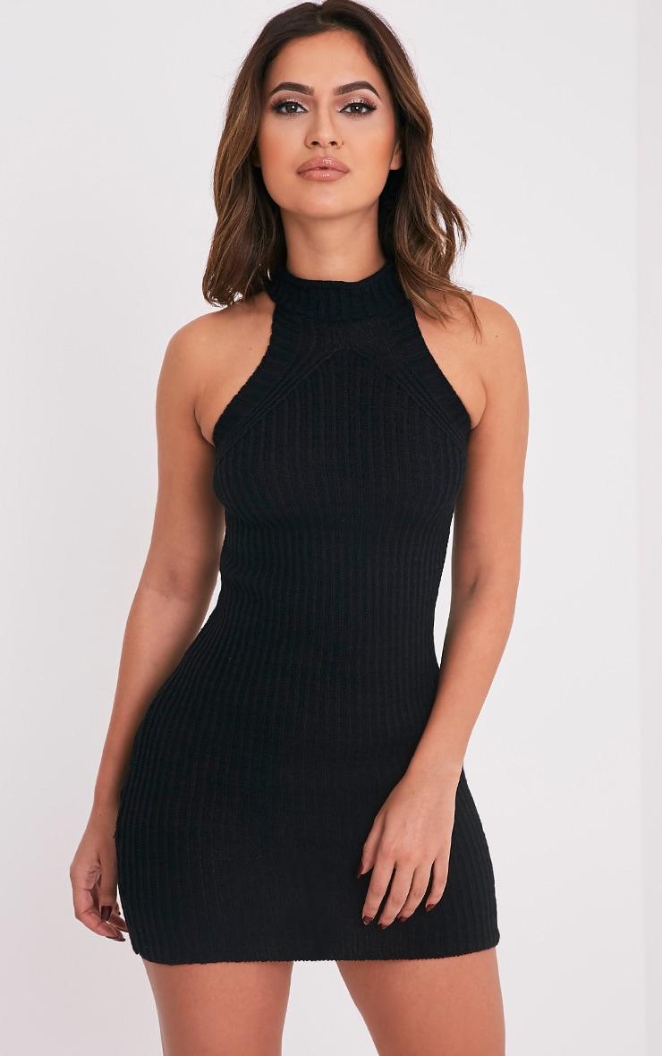 Nadalae robe mini noire tricotée col montant sans manches 1
