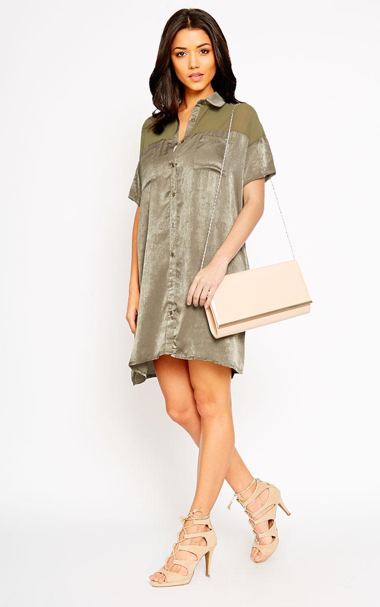 Dina Khaki Silky Panel Shirt Dress 5