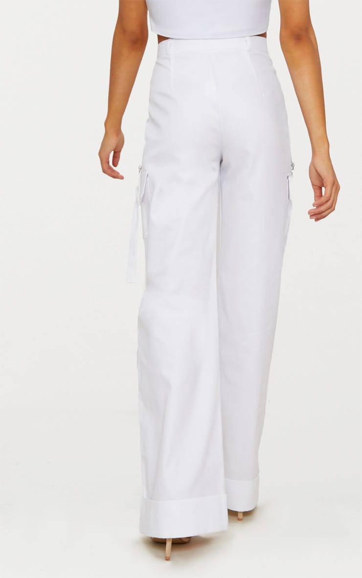 Petite White Pocket Detail Cargo Trousers 3