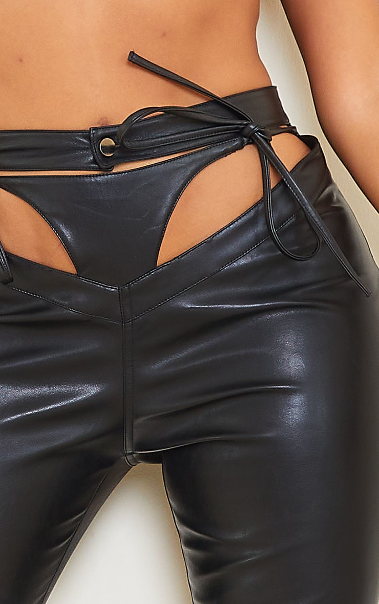 Shape Black PU Cut Out Tie Detail Straight Leg Trousers 4