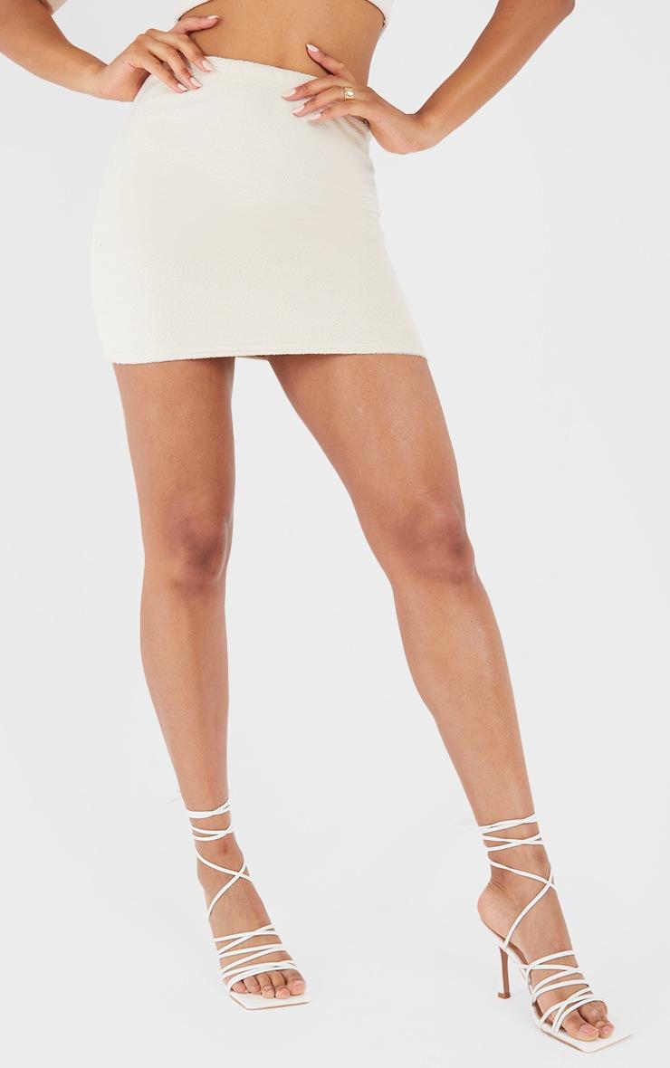 Cream Towelling Mini Skirt 2