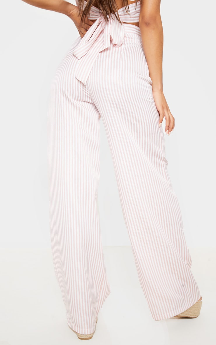 Baby Pink Woven Stripe Wide Legged Trouser  4