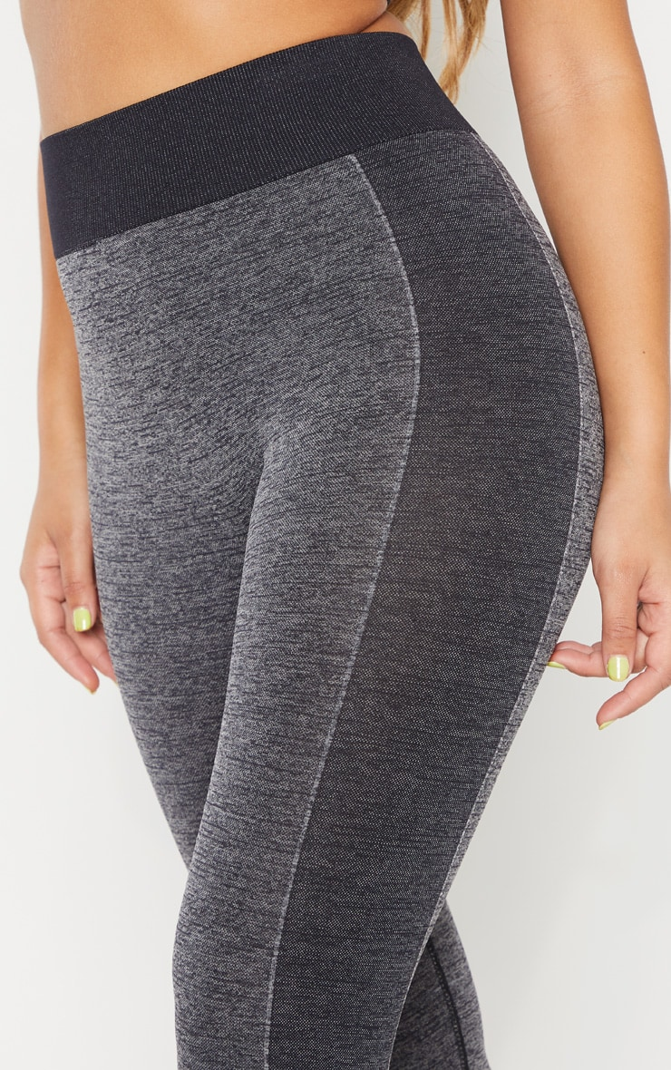 Dark Grey Seamless Contrast Panel Cropped Legging 5