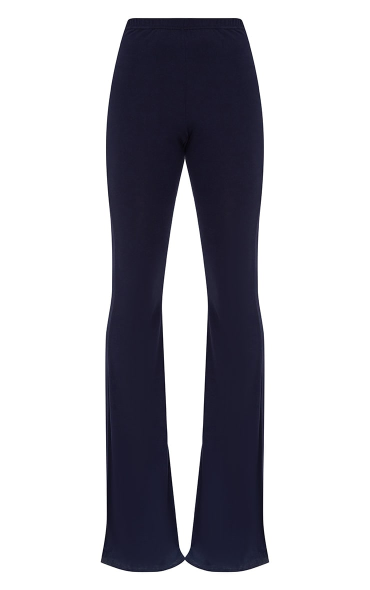 Navy Basic Jersey Flared Pants 3