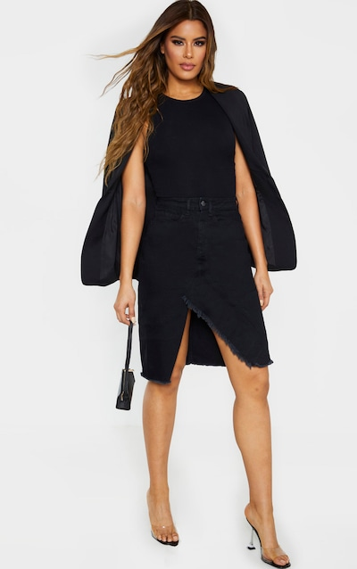 Tall Black Split Hem Midi Denim Skirt