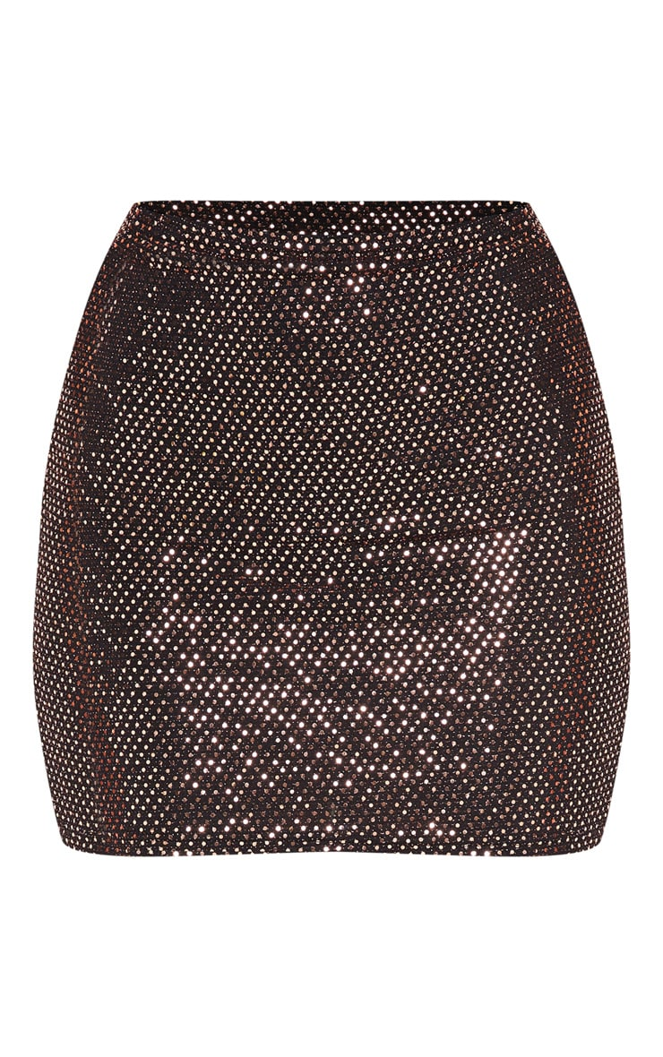Rose Gold Sequin Ruched Bum Mini Skirt  3