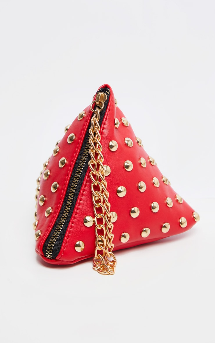 Red PU Studded Pyramid Grab Bag 2