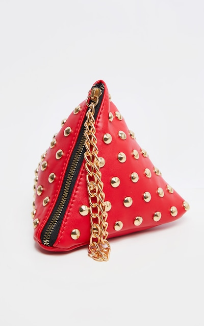 Red PU Studded Pyramid Grab Bag