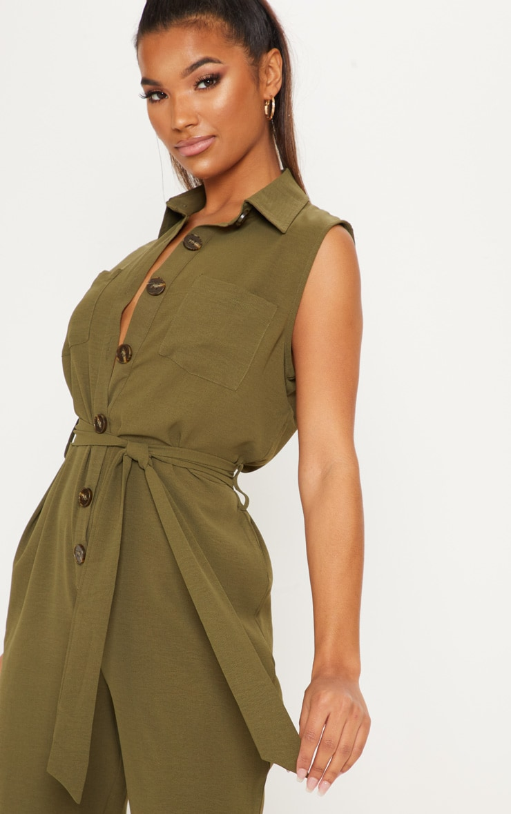Khaki Tortoiseshell Button Sleeveless Jumpsuit 5