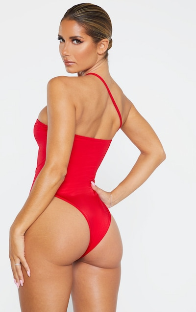 Red Asymmetric Strap Swimsuit