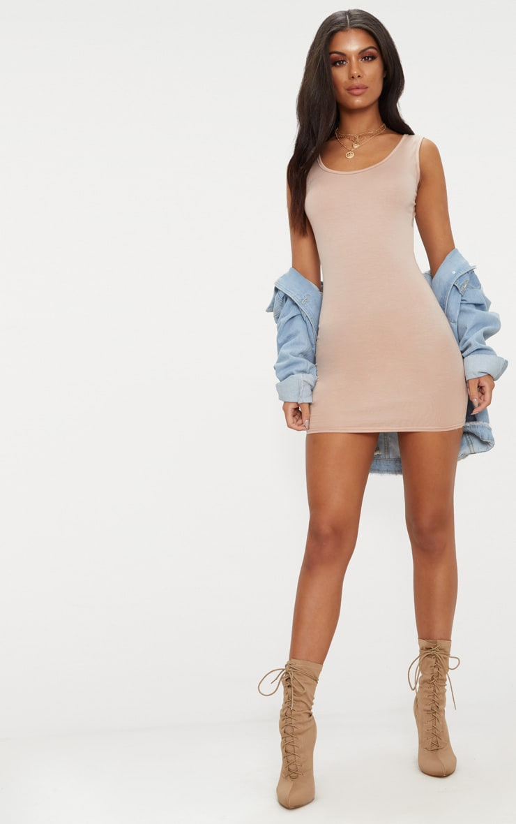 Basic Nude Scoop Neck Bodycon Dress 4