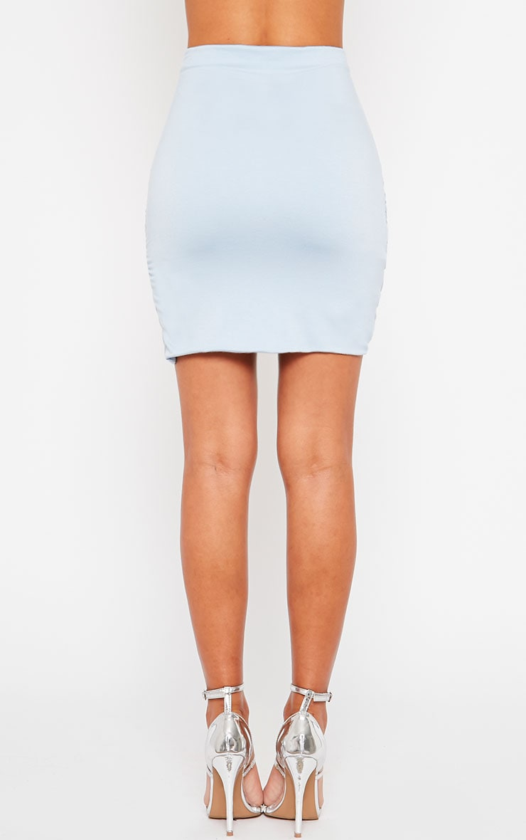 Blue Jersey Ruched Mini Skirt 4