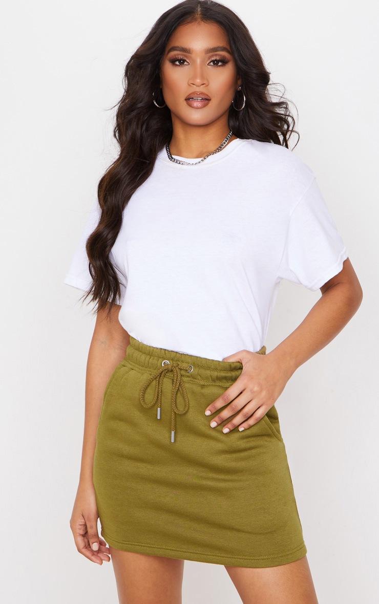 Khaki Sweat Drawstring Waist Mini Skirt 5