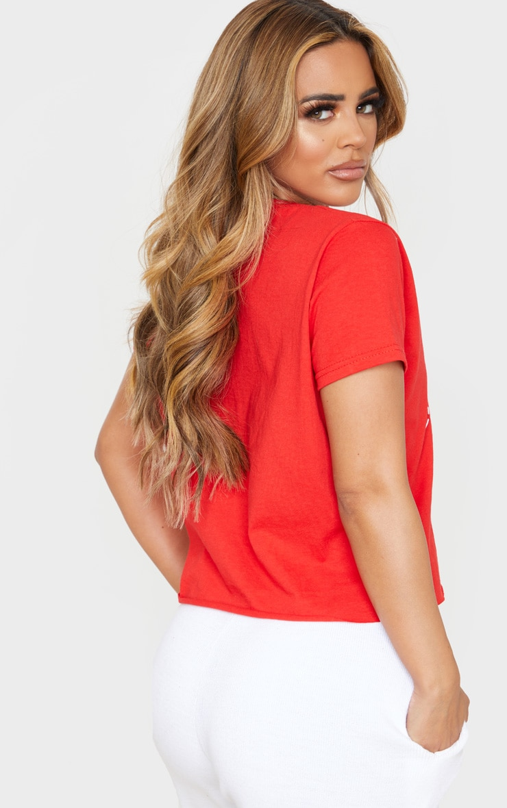 Petite 'Dear Santa I've Been Good' Cropped Red T-Shirt 2