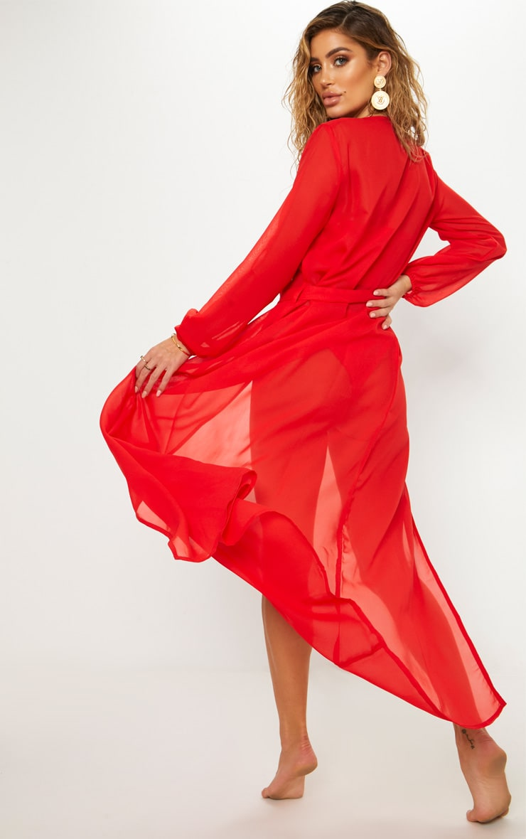 Red Maxi Belted Beach Kimono 2