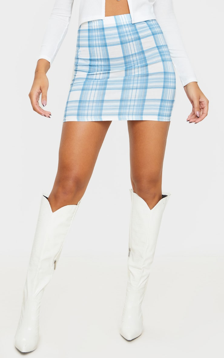 Baby Blue Check Mini Skirt 2