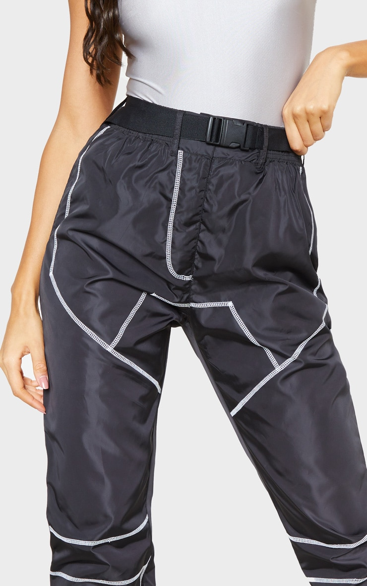 Black Contrast Stitch Belted Shell Jogger 5