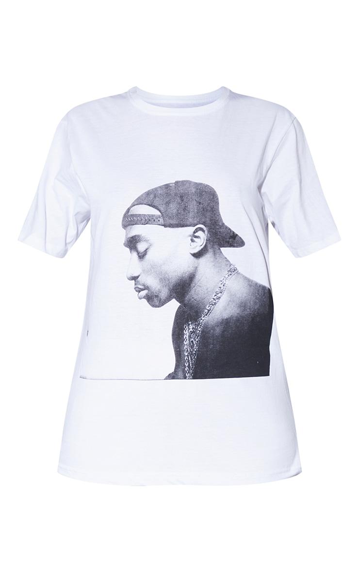 White Tupac Chains Oversized T-Shirt 5