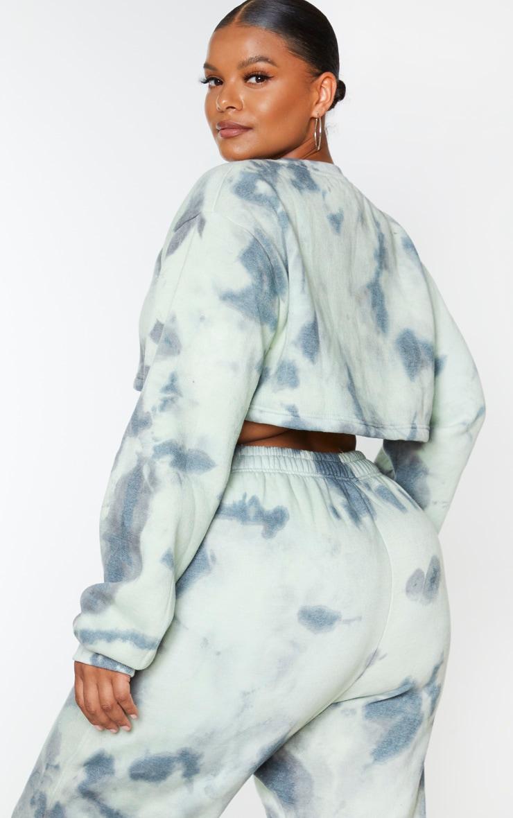 Plus Sage Green Tie Dye Extreme Cropped Sweater 2