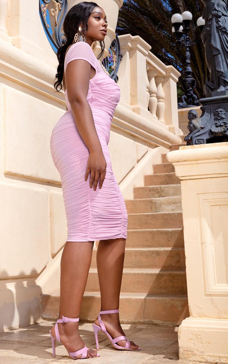 Plus Lilac Mesh Ruched Midi Dress 4