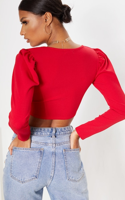 Red Crepe Plunge Puff Sleeve Crop Top