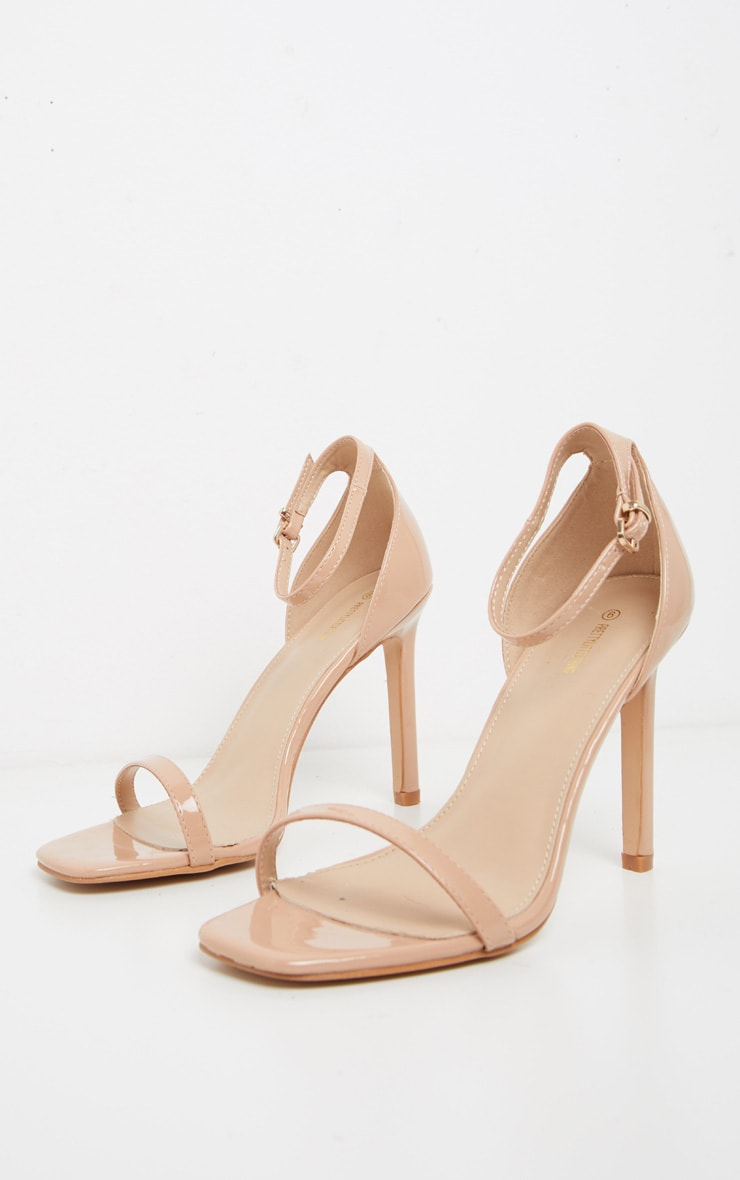 Light Nude Thin Strap Square Toe Strappy Sandal 3