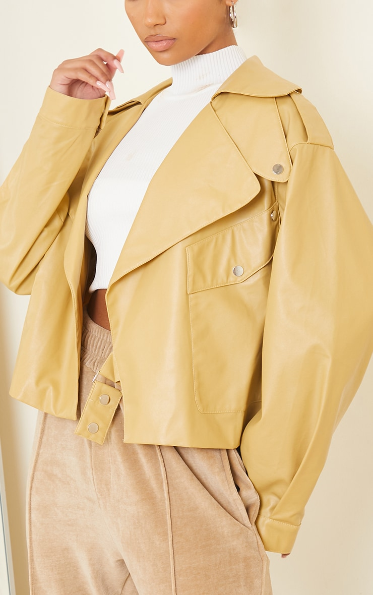 Sand Faux Leather Pocket Front Jacket 4