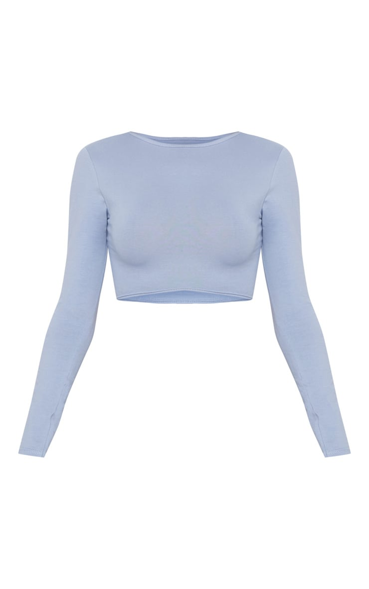Charcoal Blue Curved Hem Long Sleeve Crop Top  3