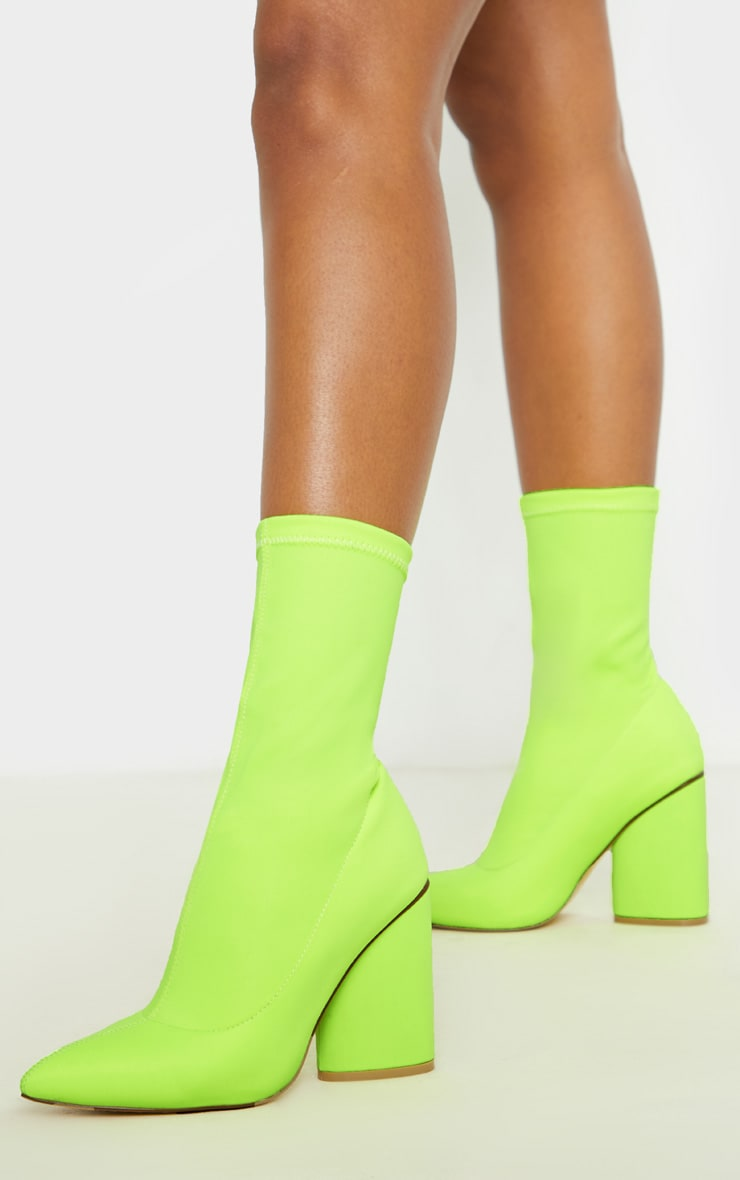 Neon Yellow Chunky Block Heel Sock Boot 1