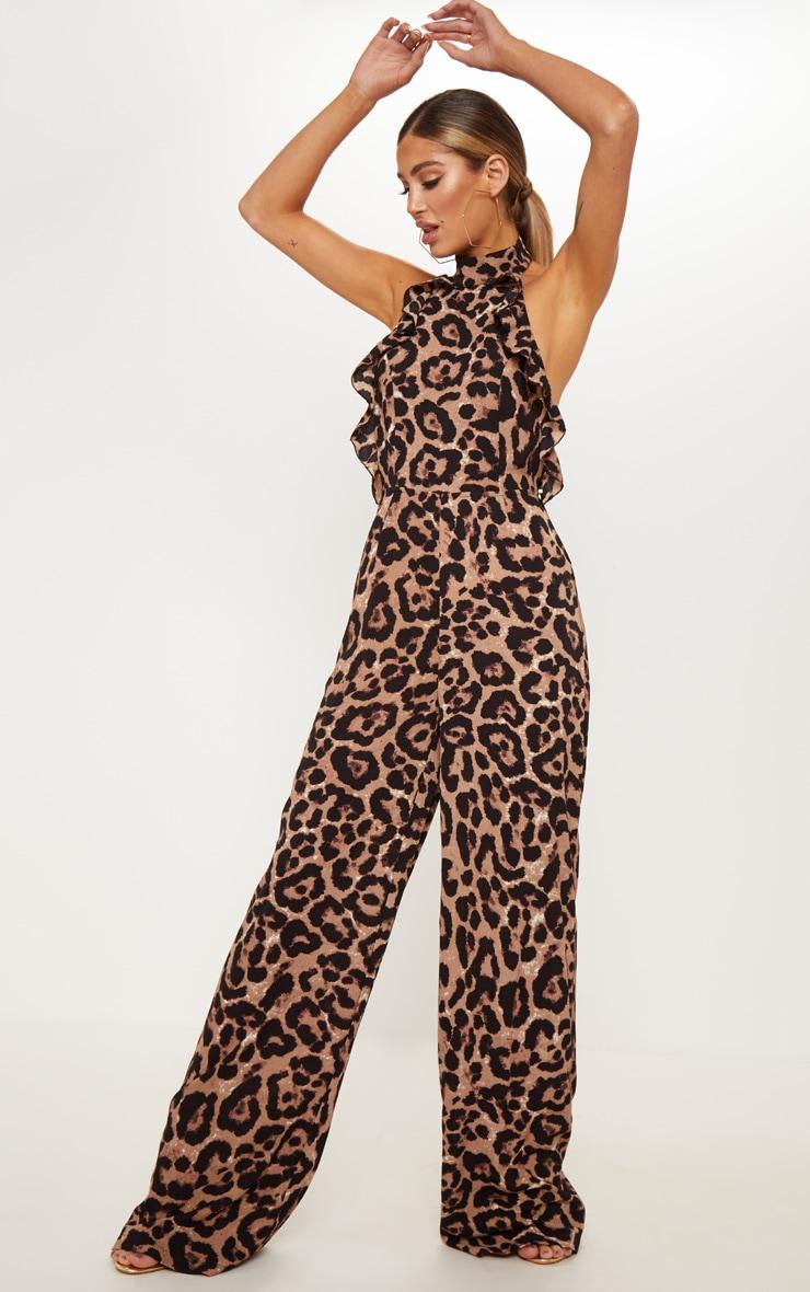 Leopard Print Halterneck Frill Back Jumpsuit 1