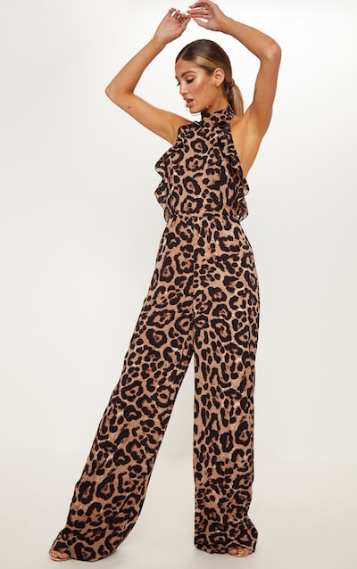 3f744e7020dc Leopard Print Halterneck Frill Back Jumpsuit. More colours available