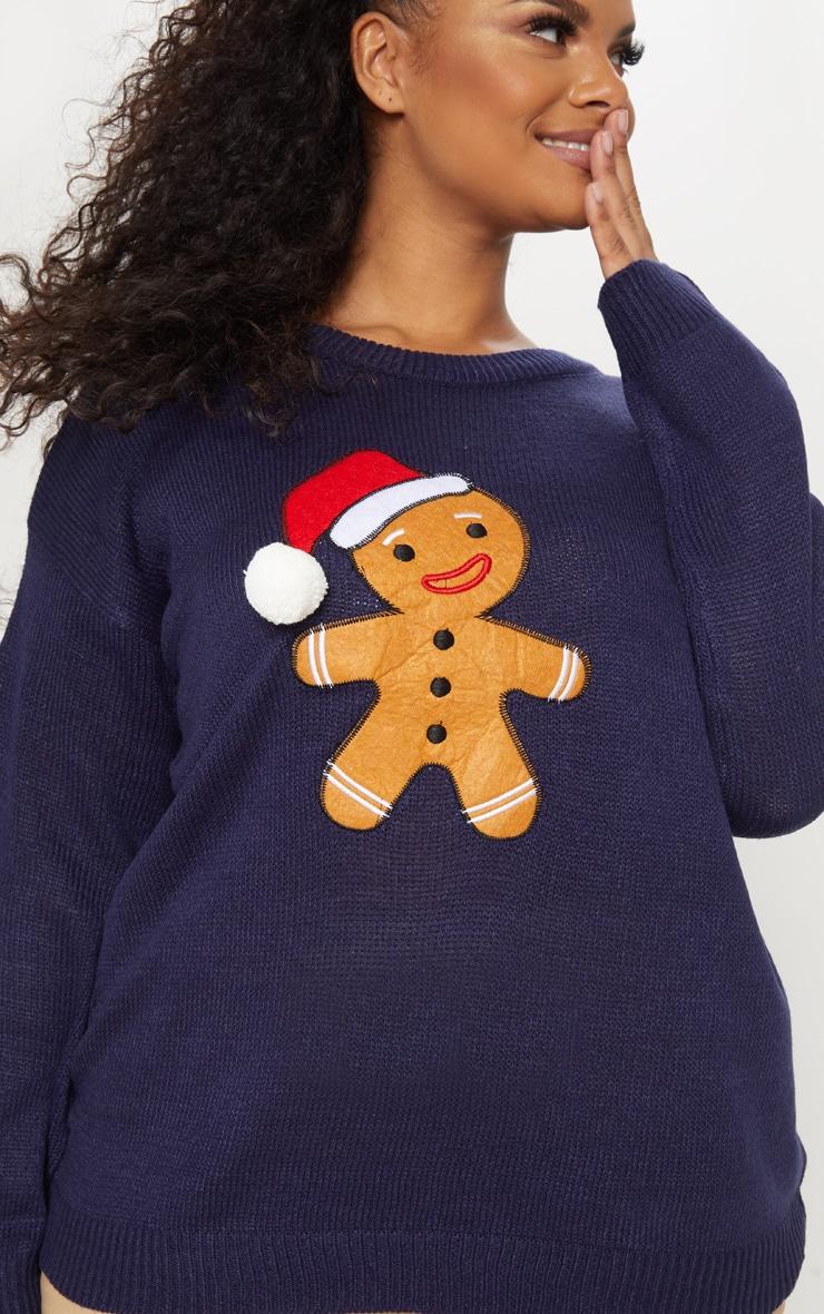 Plus Navy Gingerbread Man Jumper 5