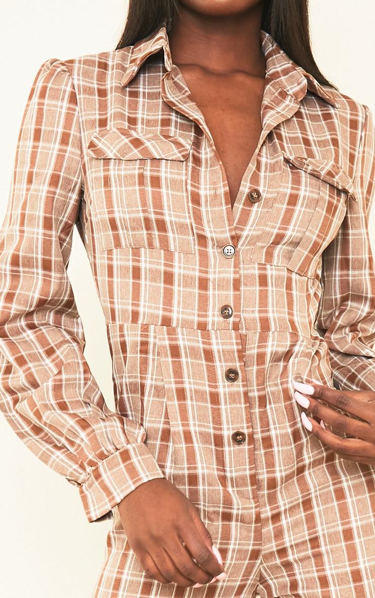 Tall Brown Check Pocket Detail Shirt Jumpsuit 4