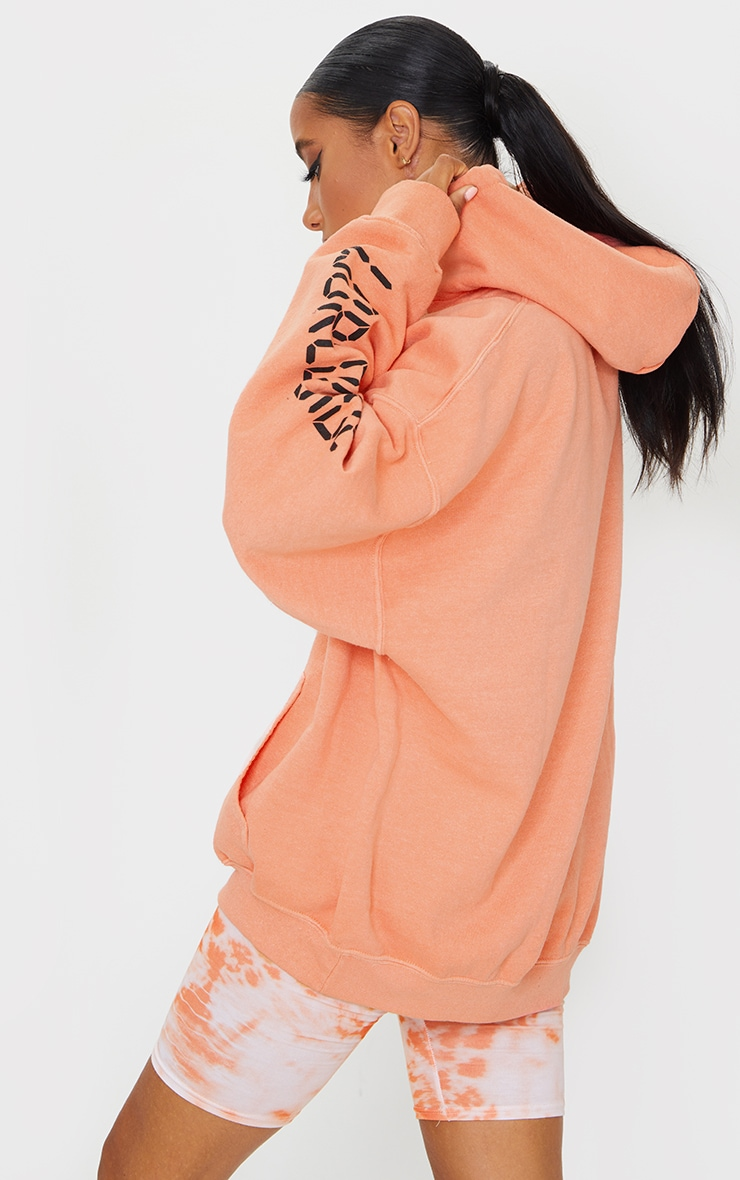 Orange Worldwide Slogan Oversized Hoodie 2