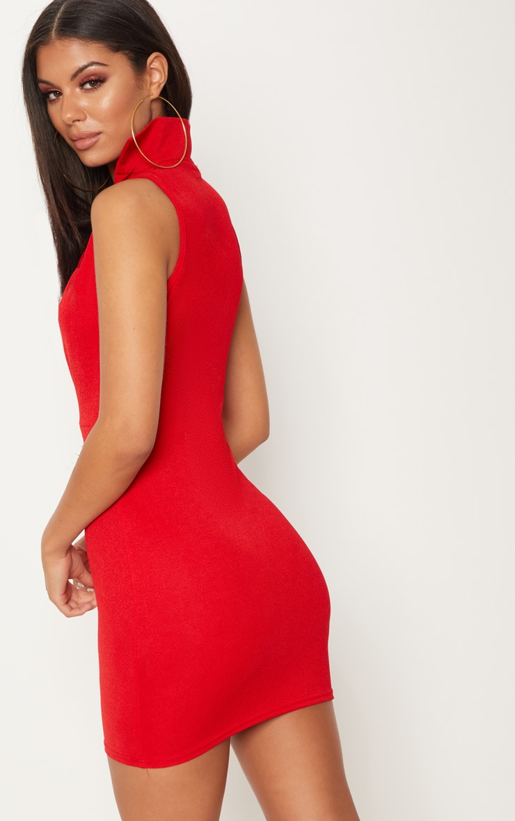 Red Sleeveless Extreme Plunge Collar Detail Bodycon Dress 2