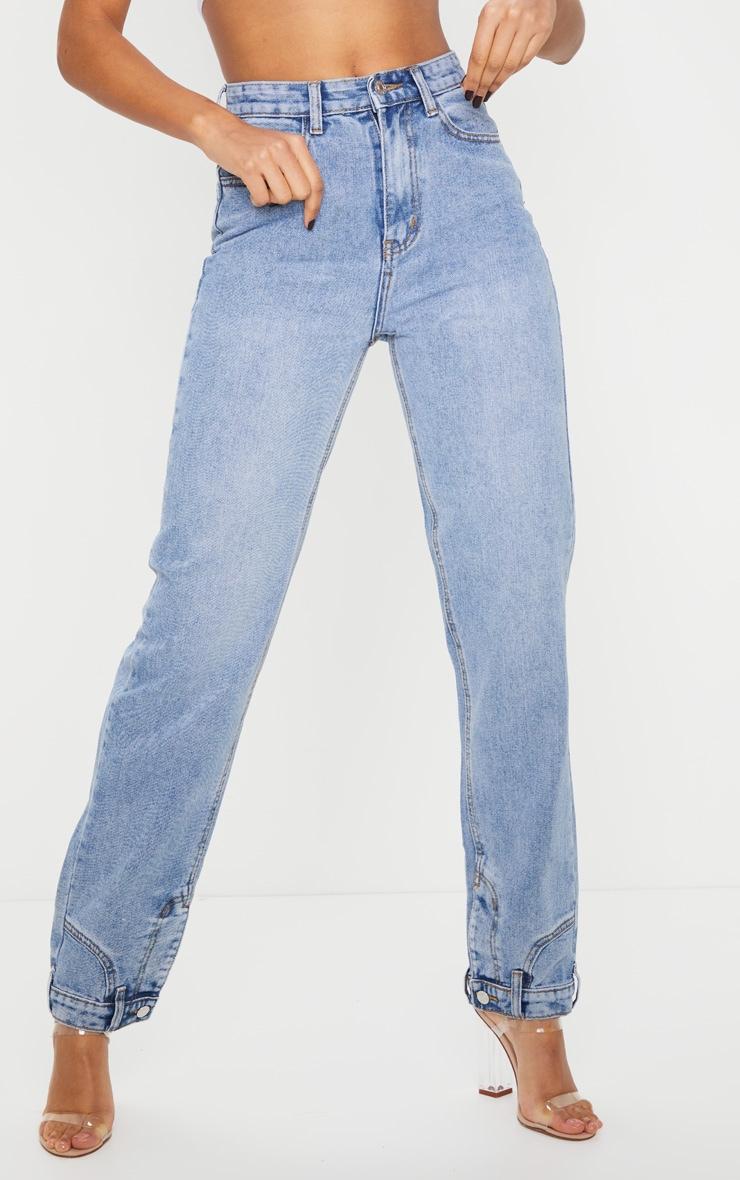 Vintage Wash Cuff Detail Straight Leg Jeans 2