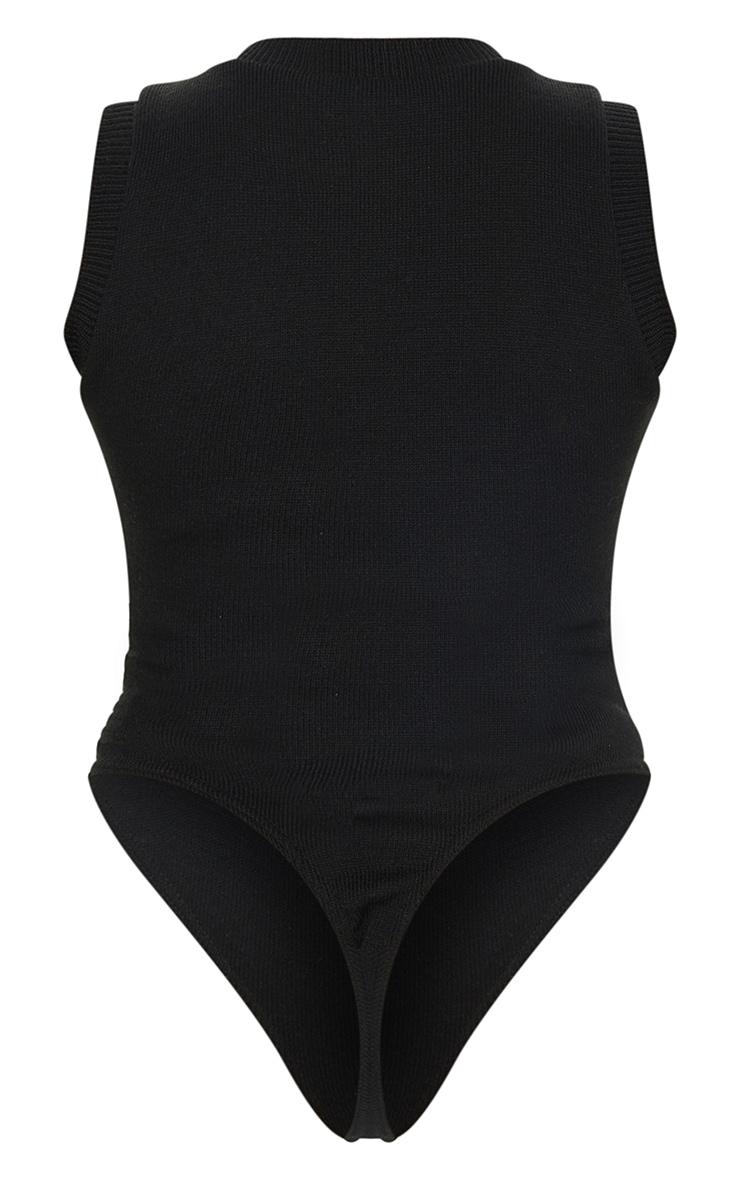 Black Zip Up Knitted Bodysuit 6