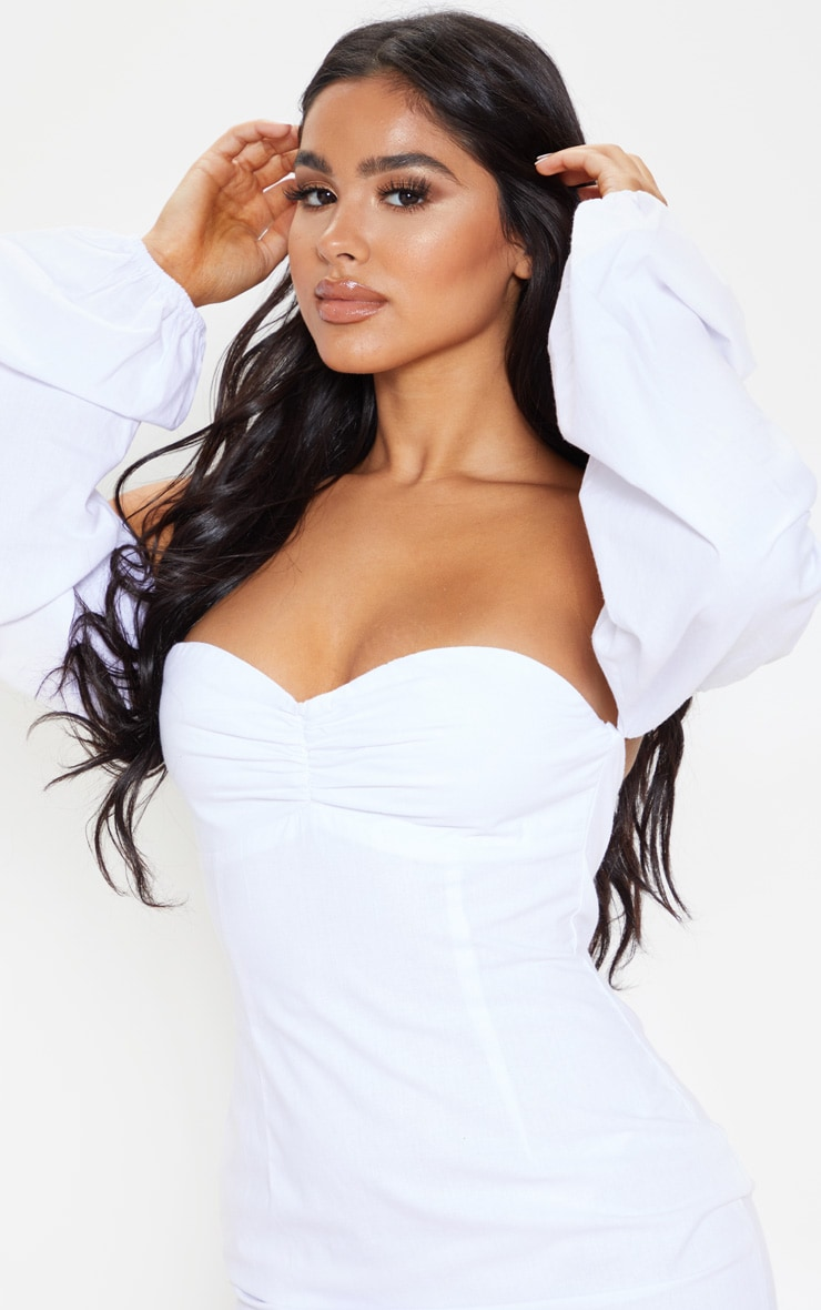 Petite White Bardot Full Sleeve Dress 5