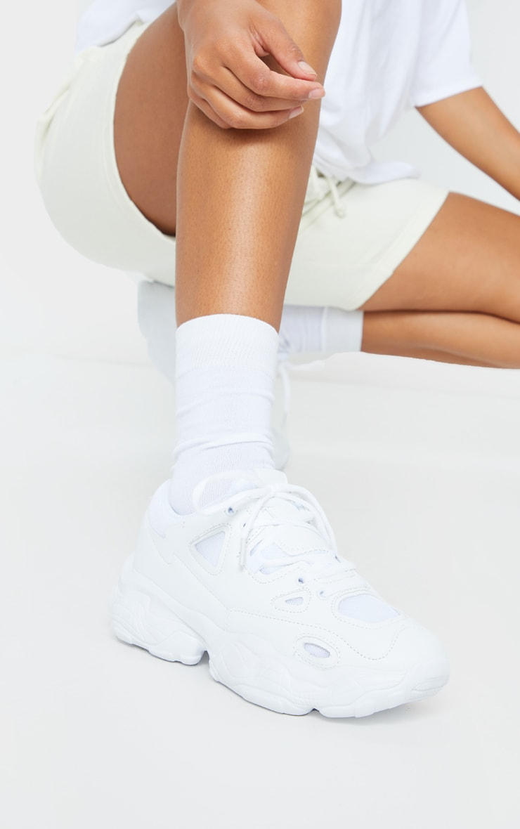 White Multi Layered Sole Chunky Sneaker 1