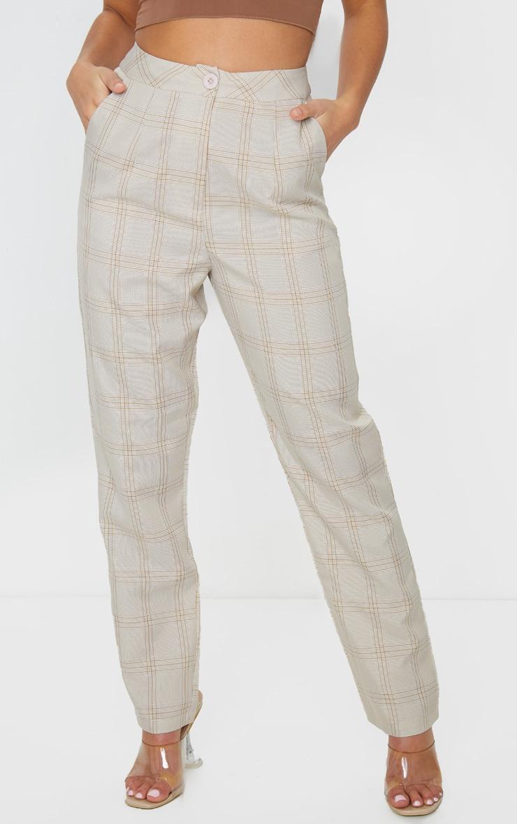 Petite Stone Checked Straight Leg Pants 2